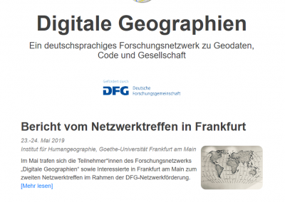 "DFG-Network: ""Digital Geographies – Geo data – Code – Society"","