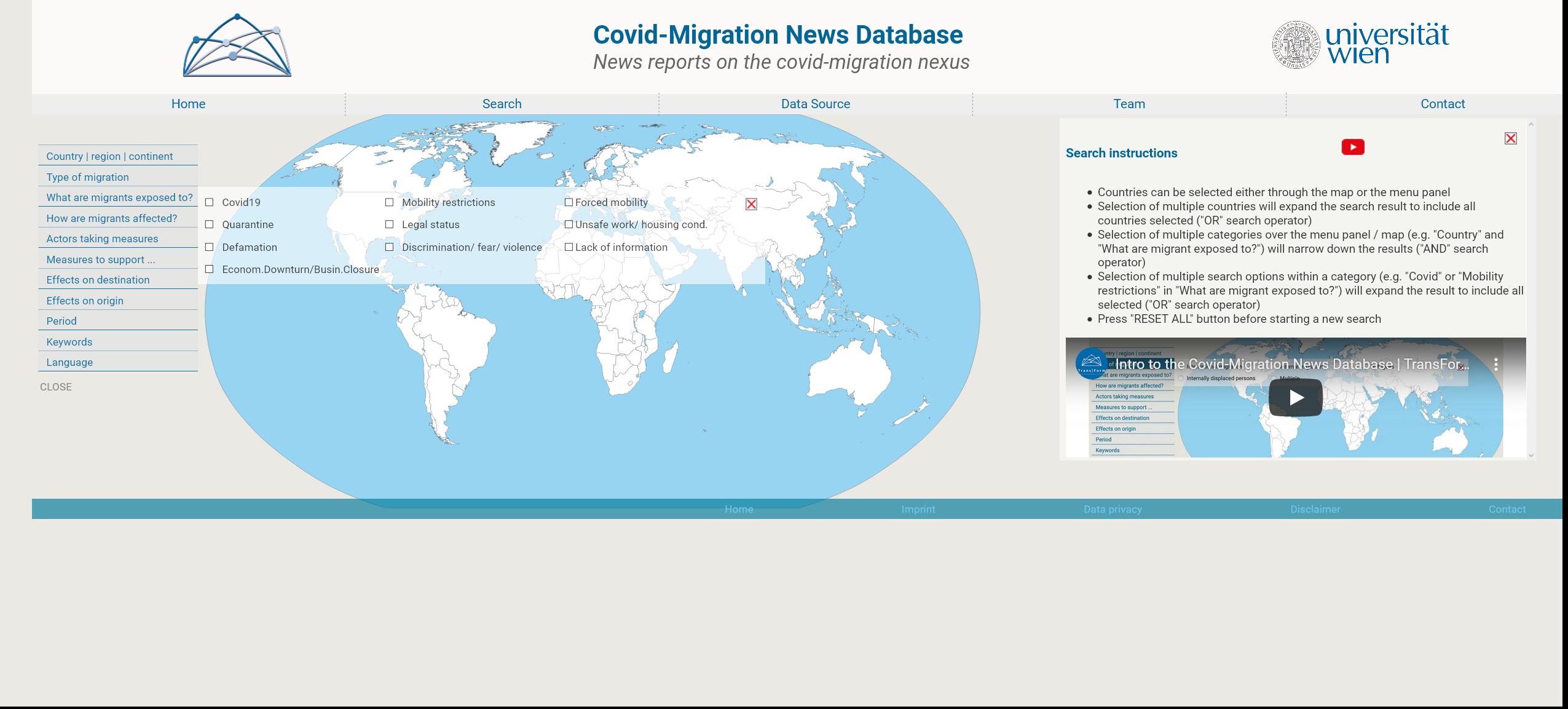 COVID-migration news database